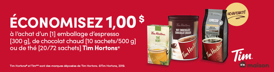 Coupon Rabais Walmart A Imprimer De 1$ Sur Tim Hortons Espresso Or Hot Chocolate Or Tea