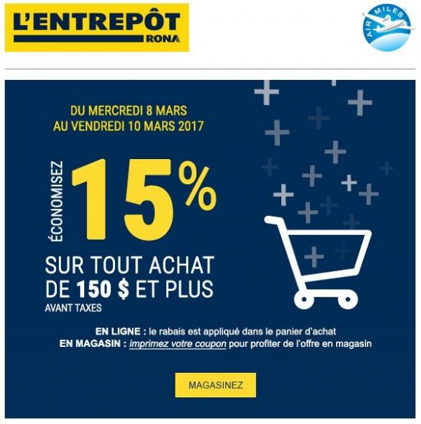 15% De Rabais Sur Vos Achats Promotions Rabais