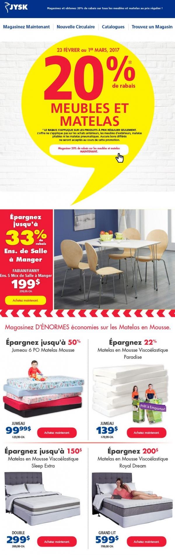 20% De Rabais Sur Les Meubles + Matelas Cette Semaine Seulement ! Promotions Rabais