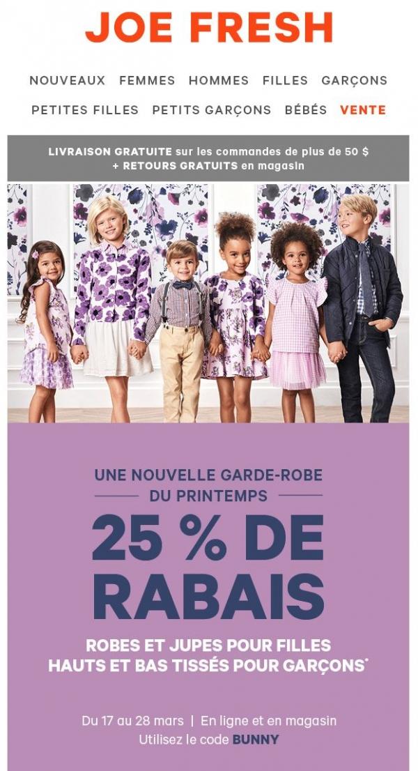 25% De Rabais! Habillez Vos Tout Petits Pour Le Printemps Promotions Rabais