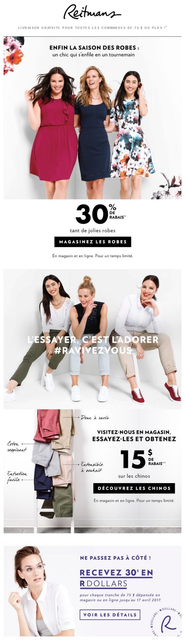 30 % De Rabais Sur Les Robes Qui Font Le Printemps. Promotions Rabais