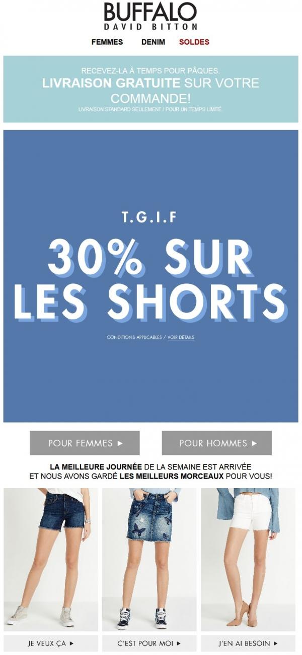 30% De Rabais Sur Les Shorts = Vous L