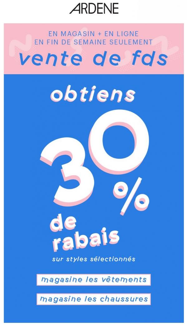 30 % De Rabais Sur Vêtements + Chaussures Promotions Rabais