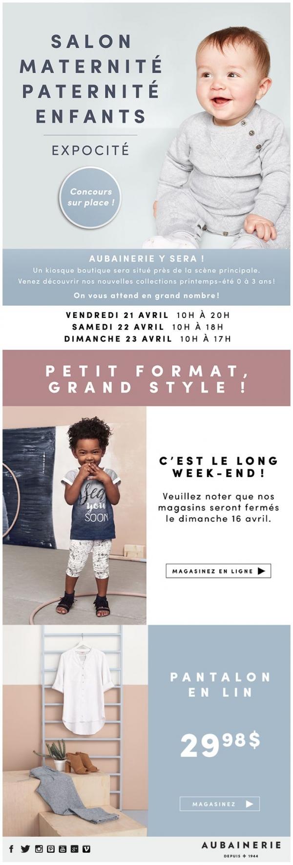 Aubainerie : Nous Serons à Québec ! Salon Maternité Paternité Enfants 2017 Promotions Rabais