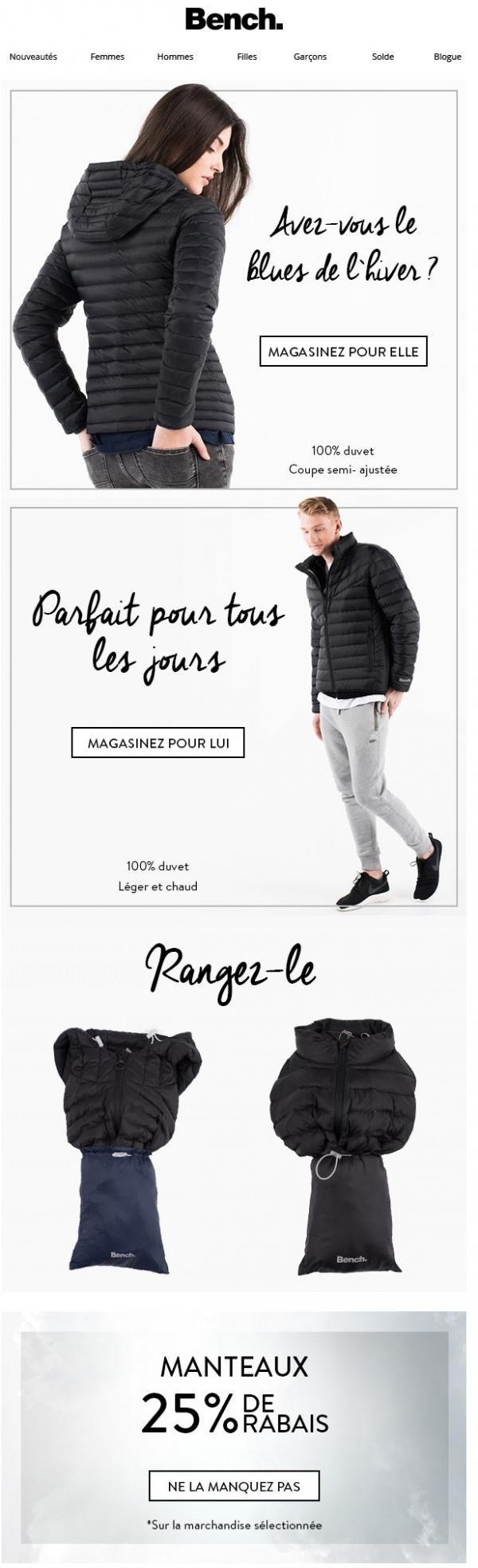 Avez Vous Le Blues De L`hiver ? | Recevez 25% De Rabais Additionnel Sur Les Manteaux Promotions Rabais