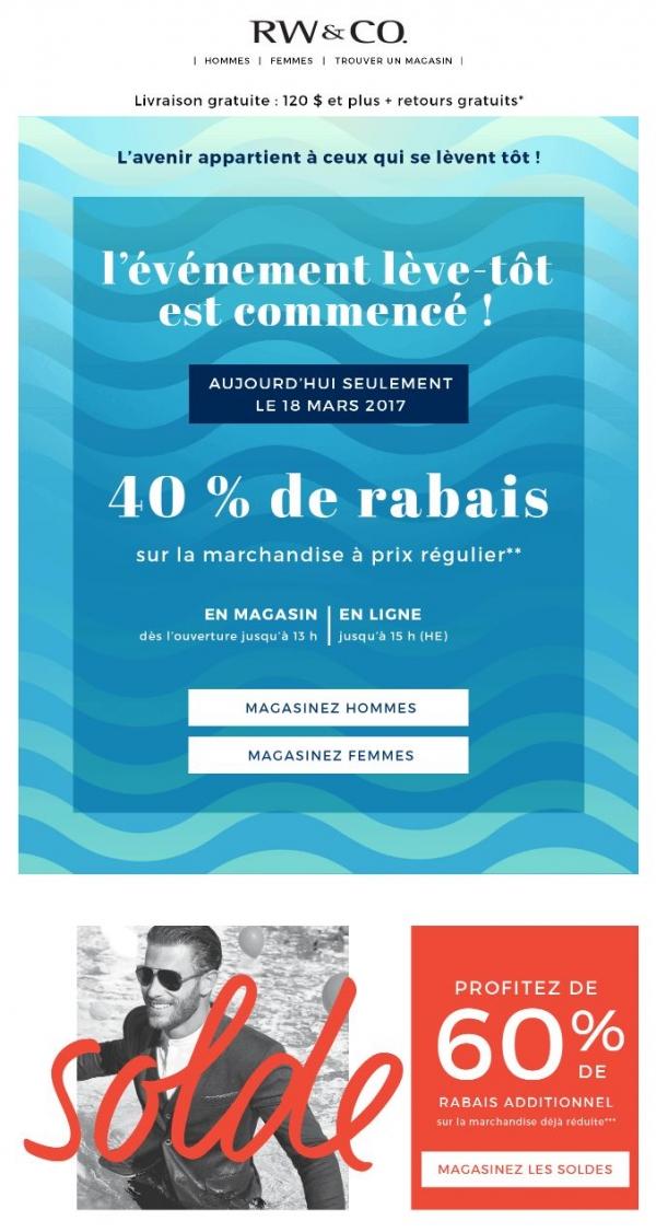 Debout De Bonne Heure = 40 % De Rabais Promotions Rabais