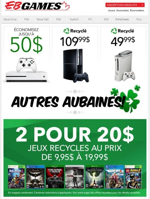 économies De La Saint Patrick Chez Eb Games! Promotions Rabais