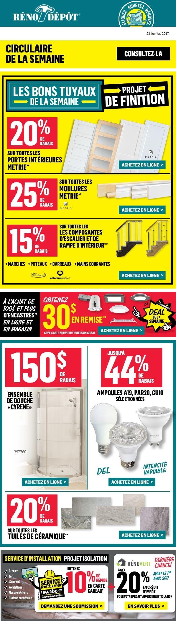 Les Bons Tuyaux De La Semaine : 25% De Rabais Sur Les Moulures Et 20% Sur Les Portes Intérieures Promotions Rabais