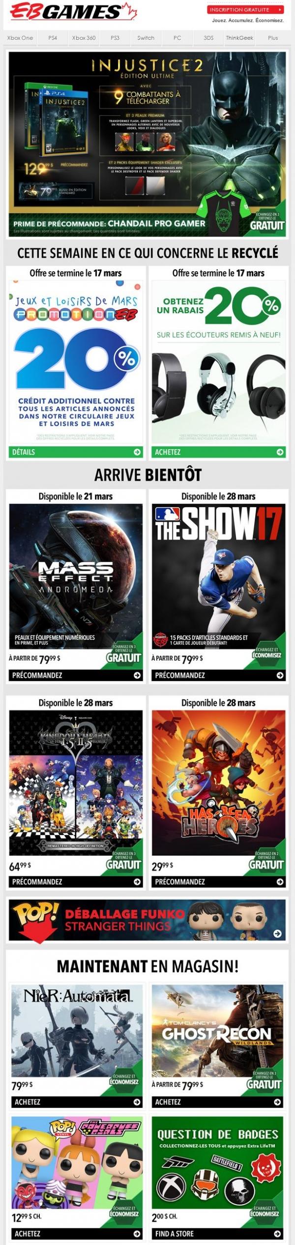 Précommandez Injustice 2 Et Obtenez Du Contenu Téléchargeable En Prime Et Un Chandail Pro Gamer Exclusif! Promotions Rabais